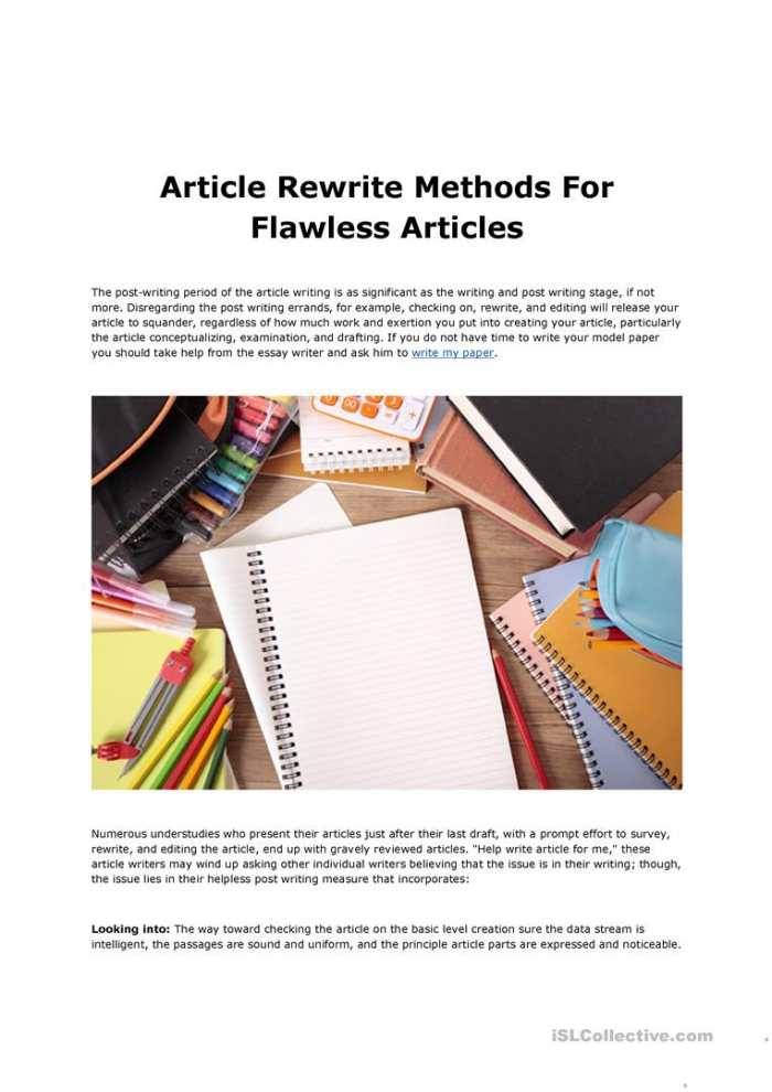 Article Rewrite Methods For Flawless Articles