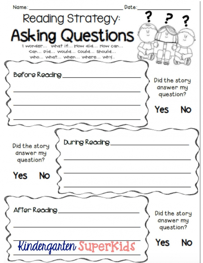 Asking Questions Reading Strategy Free Student Recording Sheet