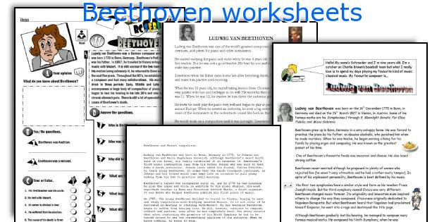 Beethoven Worksheets