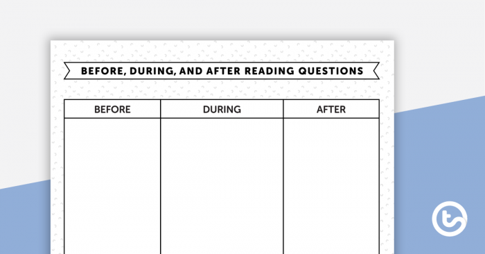 Before  During  And After Reading Worksheet Teaching Resource