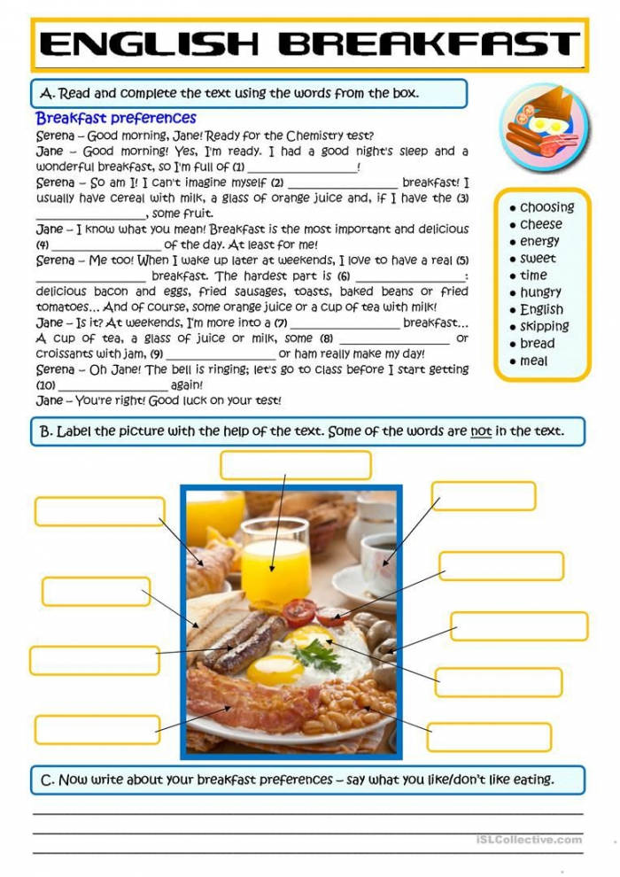 Breakfast Preferences Worksheet