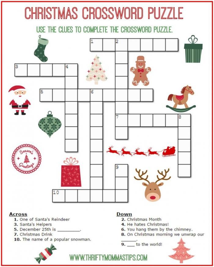 Christmas Crossword Puzzle Printable