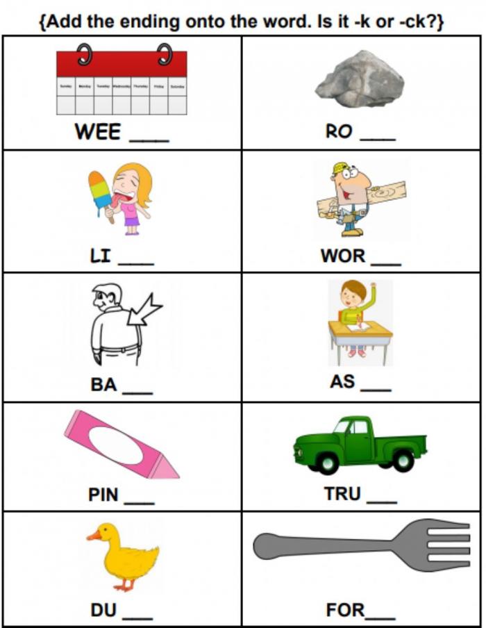 Ck Or K Words Worksheet Worksheet