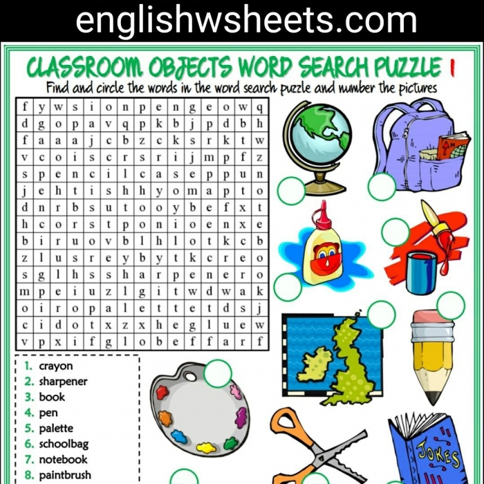Classroom Objects Esl Printable Word Search Puzzle Worksheets For