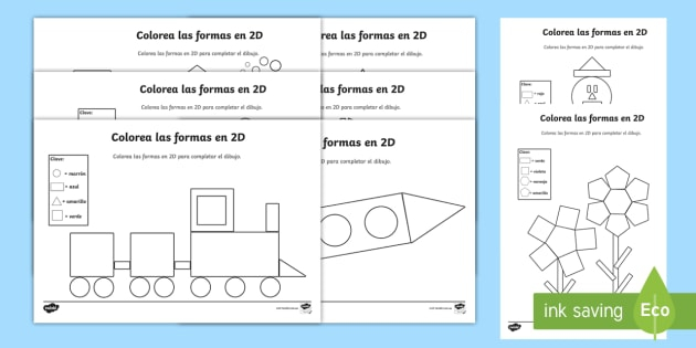 Color By D Shapes Activity Sheets