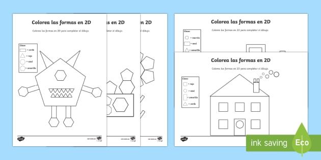 Color By D Shapes Worksheet  Worksheet Spanish