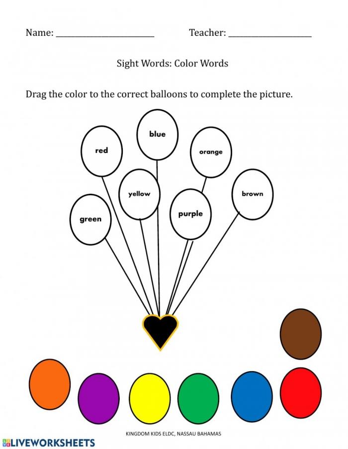Color Sight Words Worksheet