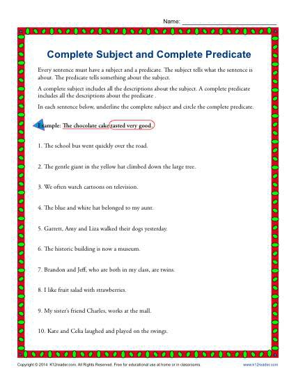 Complete Subject And Complete Predicate