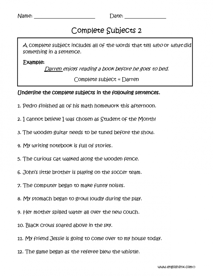 Complete Subjects Worksheets Part