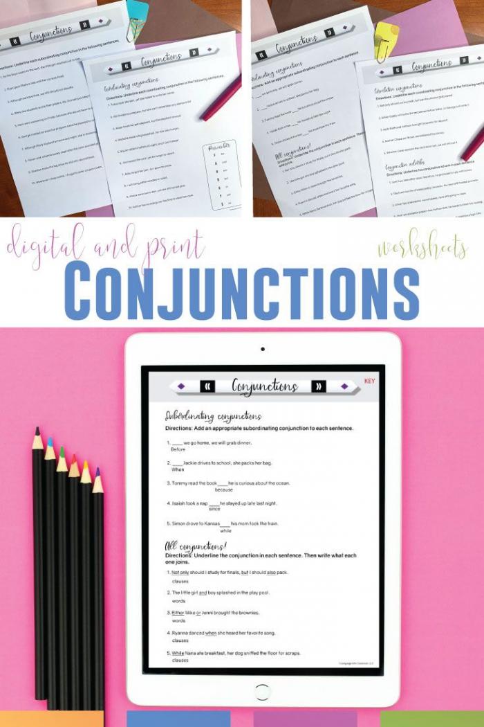 Conjunctions Worksheets Print   Digital Grammar Worksheets