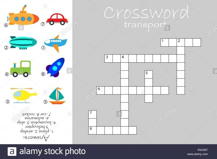 Crossword For Children  Transport Theme  Fun Education Game For