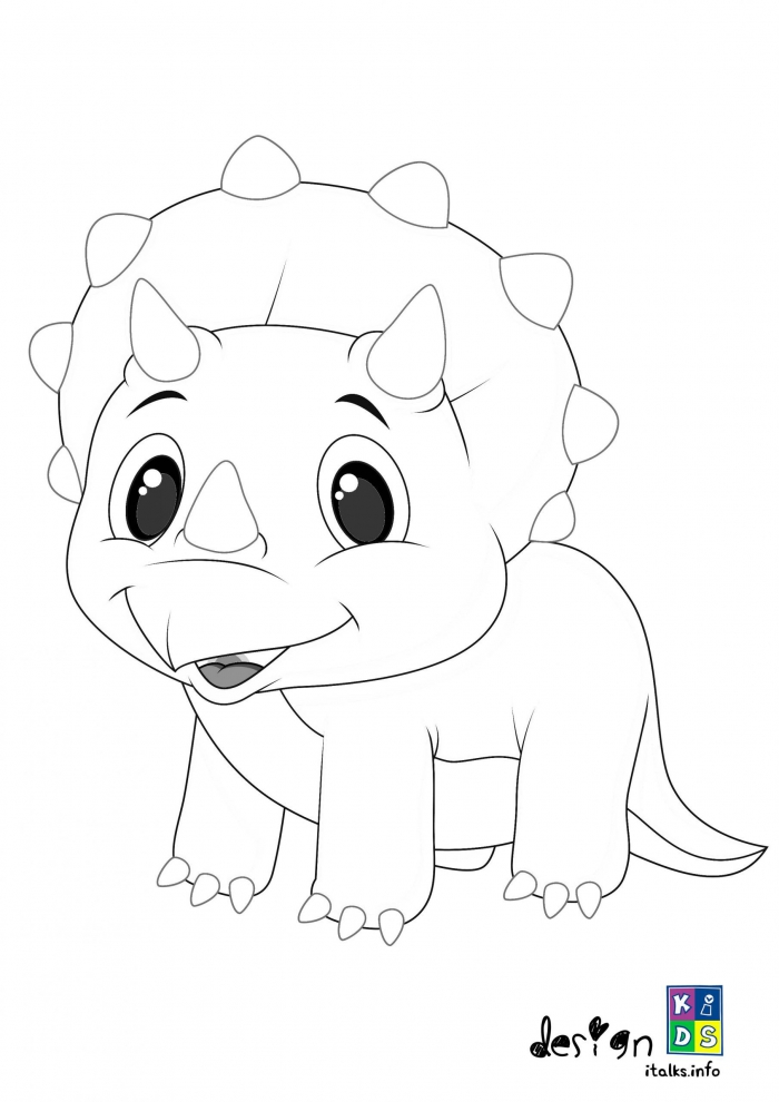 Cute Baby Triceratops Coloring Page Special For Kids