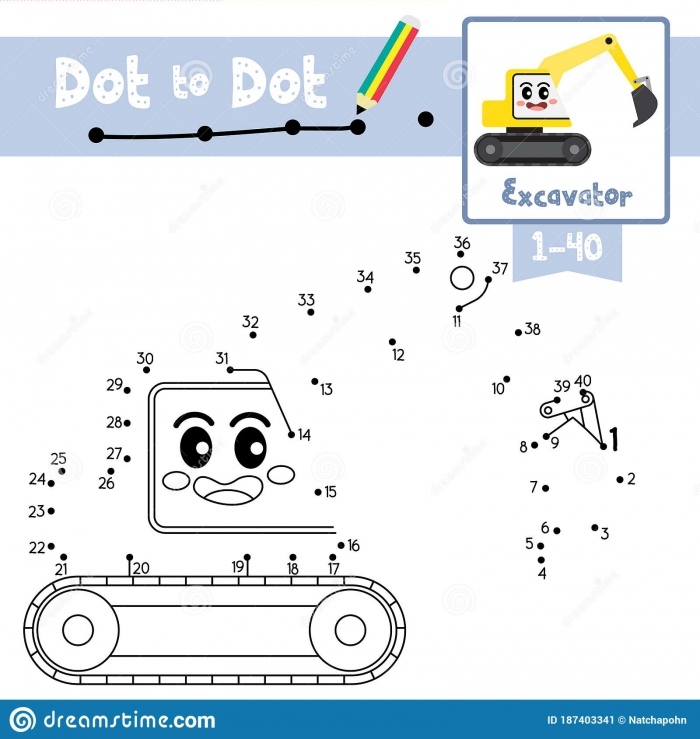 Dot To Dot Educational Game And Coloring Book Excavator Cartoon
