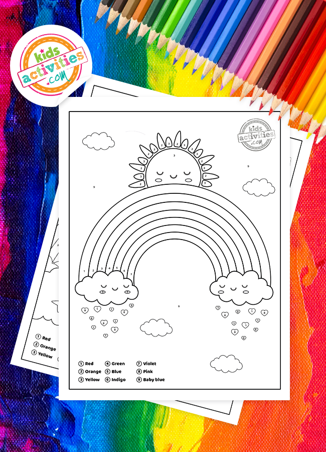 Download Free Color By Number Rainbow Worksheets