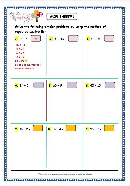 Dr Math Division As Repeated Subtraction Worksheets Th Grade The