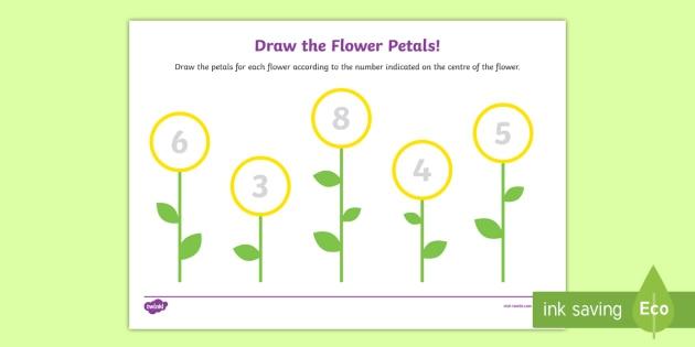Draw The Flower Petals Counting Worksheet  Worksheet