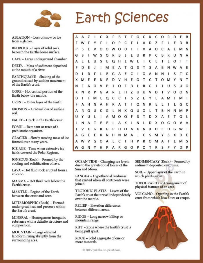 Earth Science Word Search Puzzle Worksheet Activity