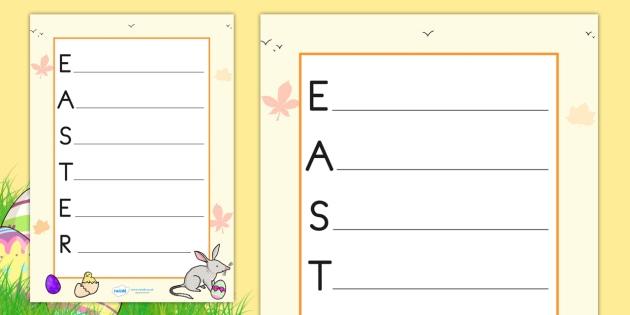 Easter Acrostic Poem Teacher Made