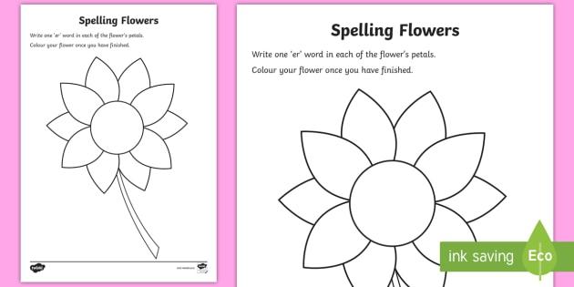Er Sound Spelling Flowers Worksheet Teacher Made