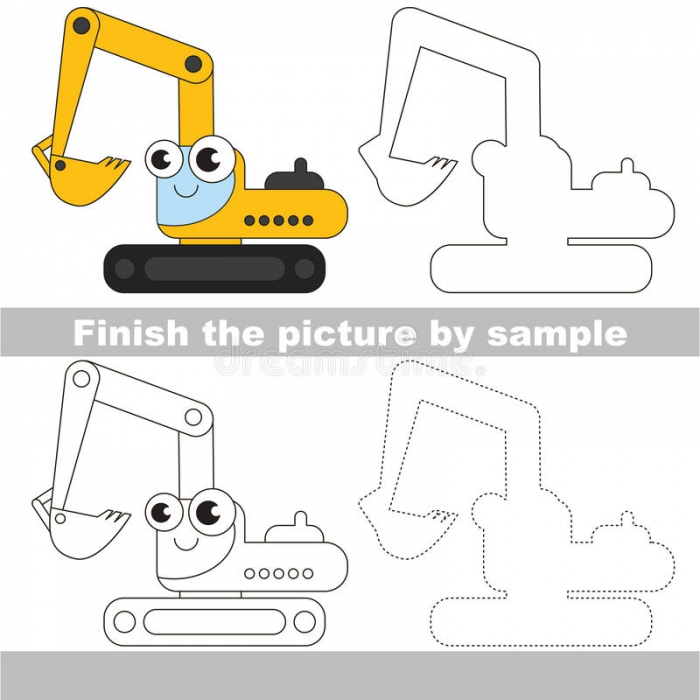 Excavator Drawing Worksheet Stock Illustrations   Excavator