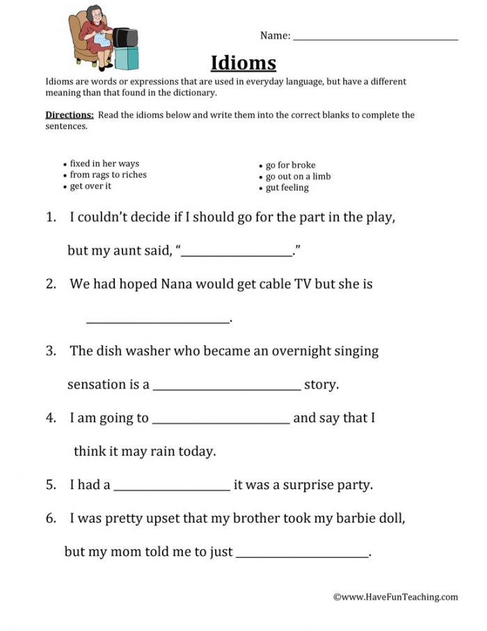 Filling In Idioms Worksheet  Have Fun Teaching
