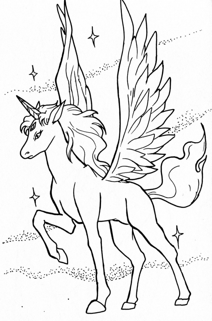 Flying Unicorn Coloring Youngandtae In Printable Unicorn Coloring