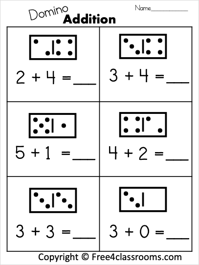 Free  Digit Addition With Dominos
