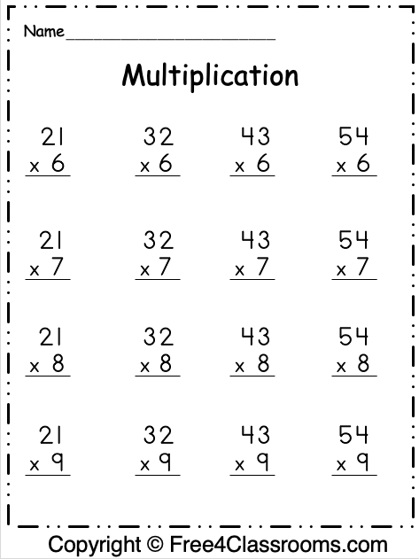 Free Multiplication Worksheet