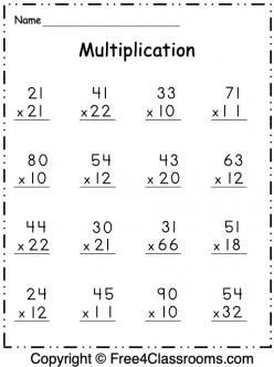 free multiplication worksheet 9