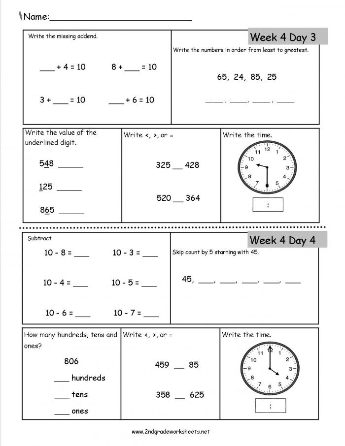 Free Nd Grade Daily Math Worksheets Dailymath Kumon Algebra