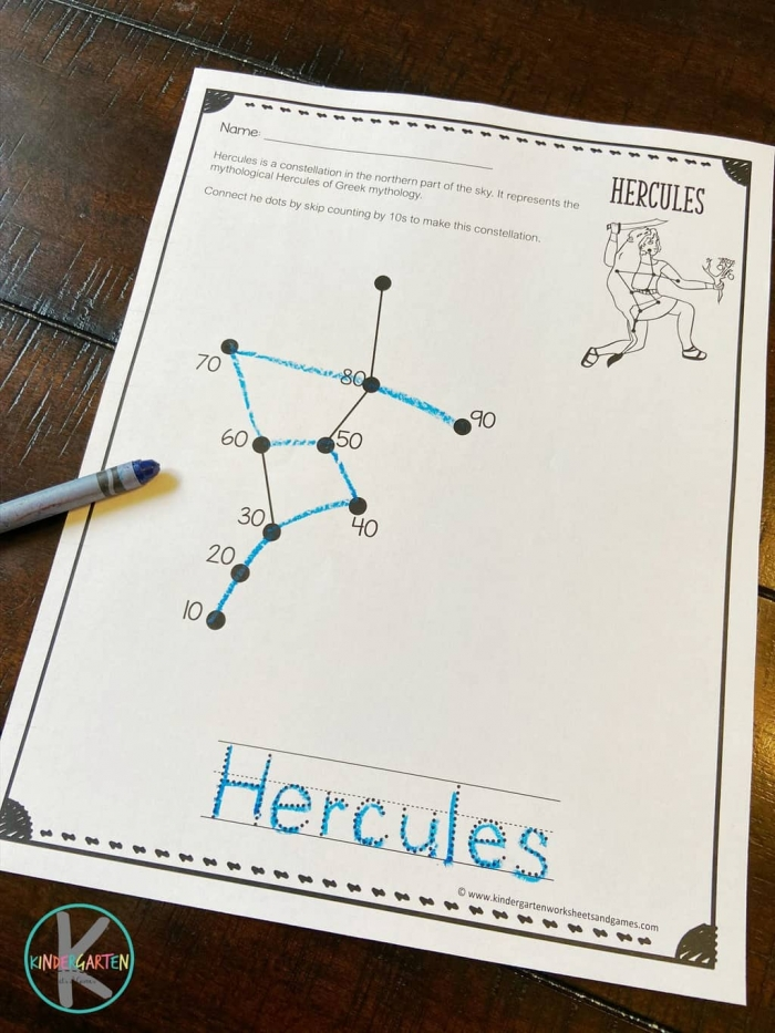 Free Skip Counting Constellations Worksheets