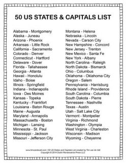 List Of The 50 States In Alphabetical Order