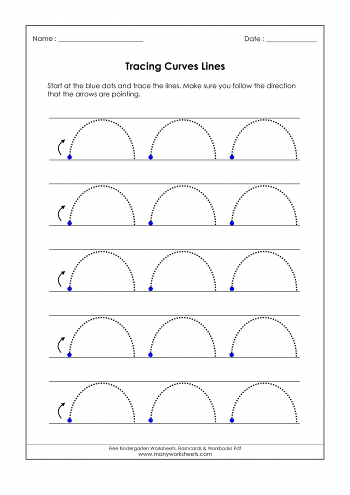 Free Worksheets Tracing Curved Lines Page