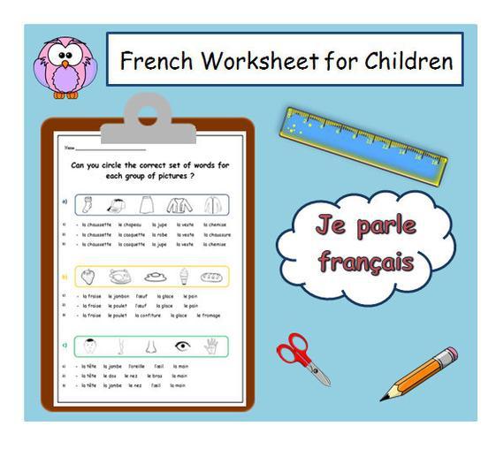 French Learning  French Worksheet Printable For Children