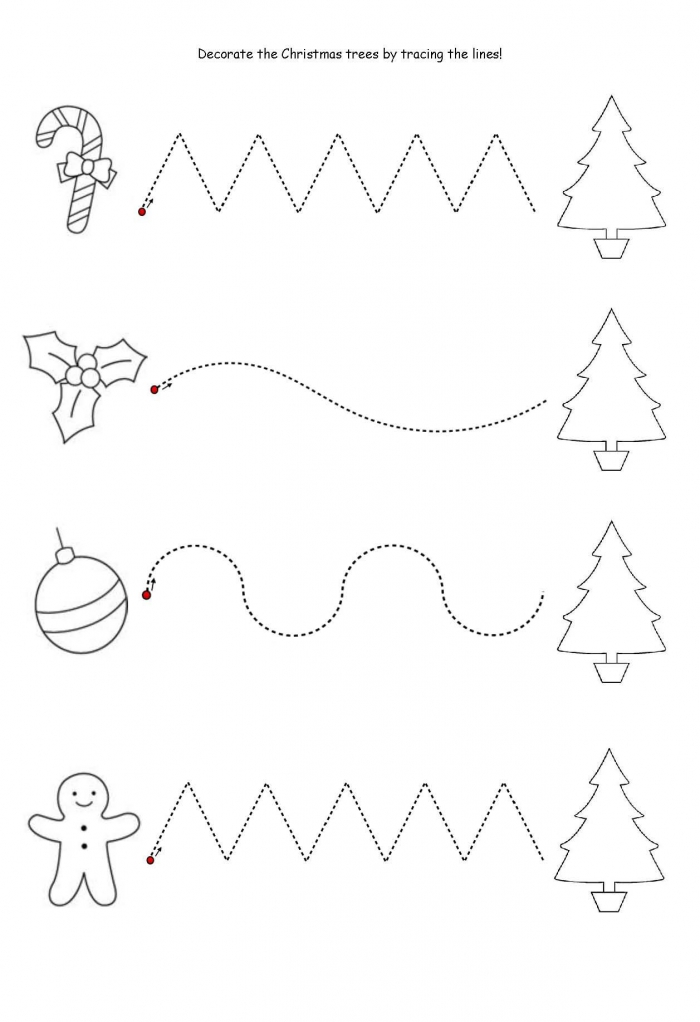 Get The Kids Tracing Lines To Match The Decoration To The Tree