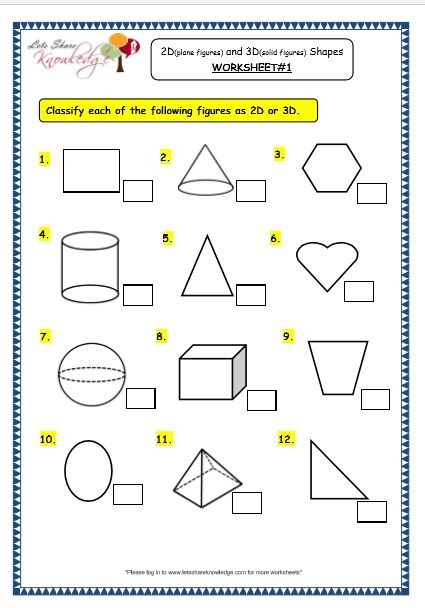 Grade  Maths Worksheets  Geometry D Plane Figures And