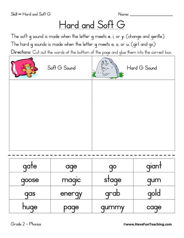 Hard G And Soft G Worksheet