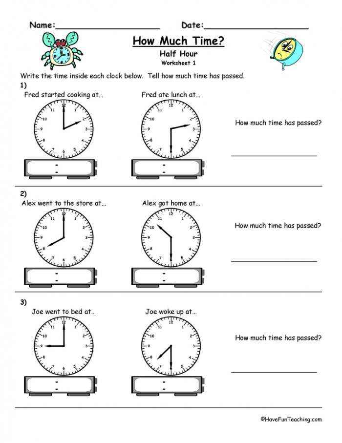 How Much Time Passed To The Half Hour Worksheet  Have Fun Teaching