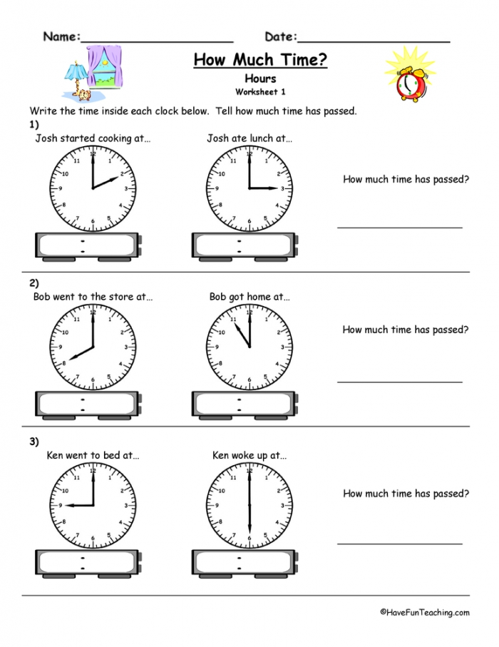 How Much Time Passed To The Hour Worksheet  Have Fun Teaching