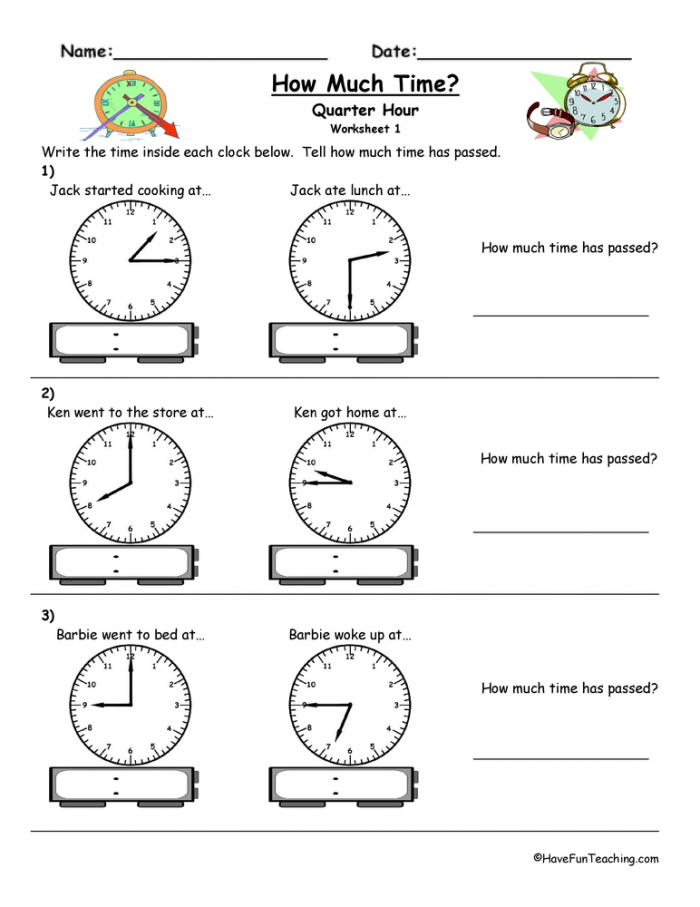 How Much Time Passed To The Quarter Hour Worksheet  Have Fun Teaching