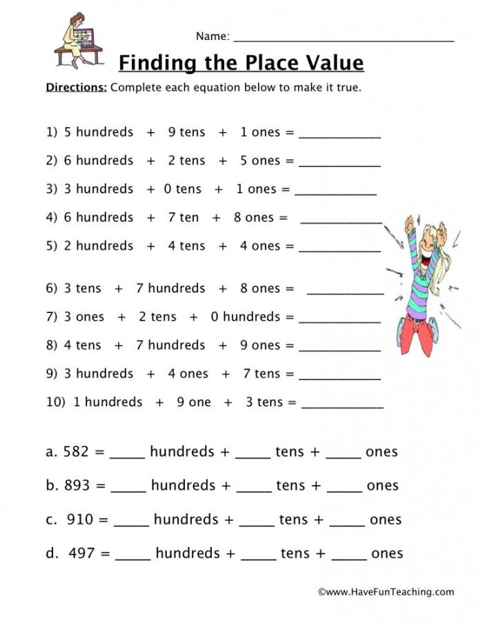 Hto Place Value Worksheet  Have Fun Teaching
