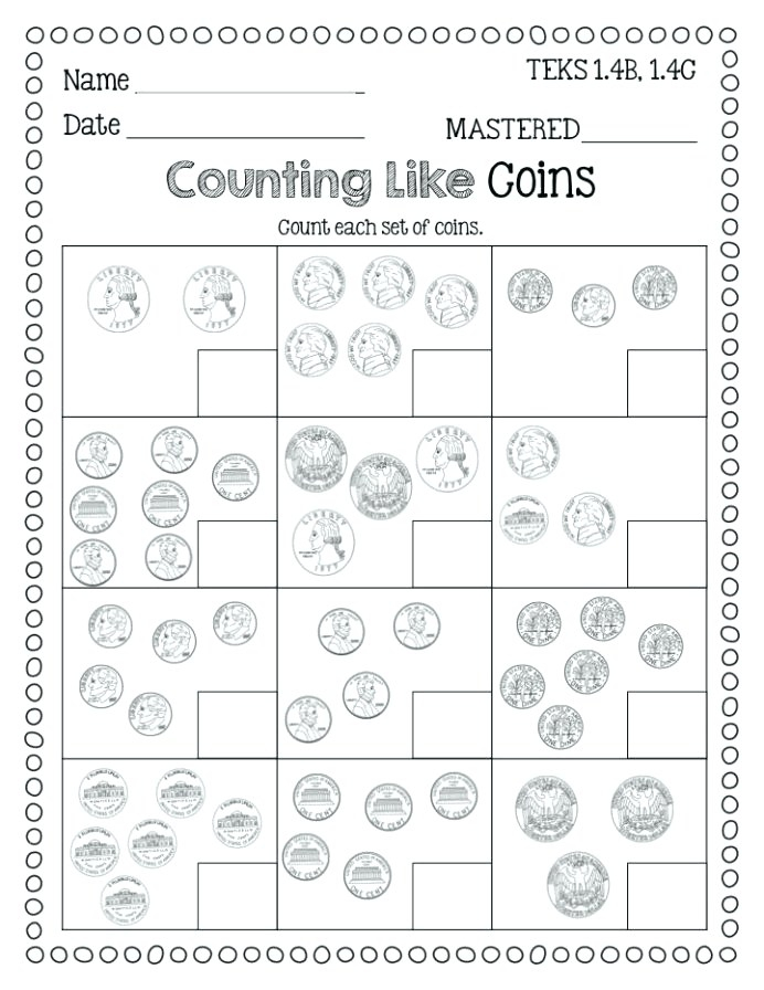 Identifying Coins Counting Freebie Flying High Coin Worksheets
