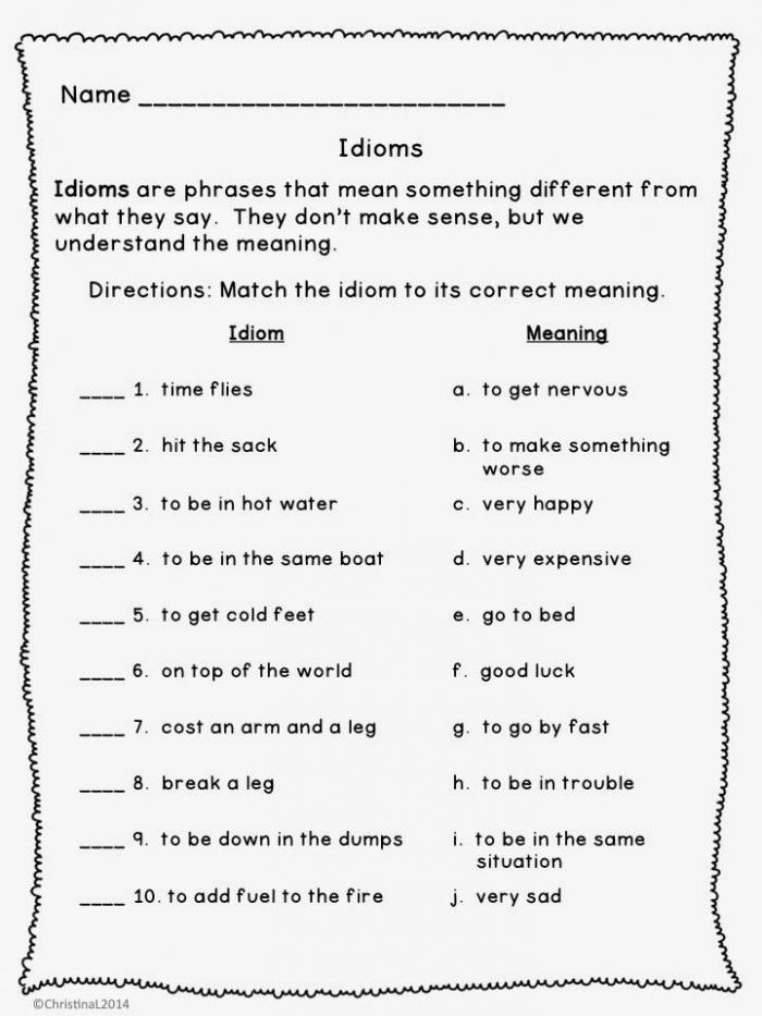 Idiom Worksheet Rd Grade