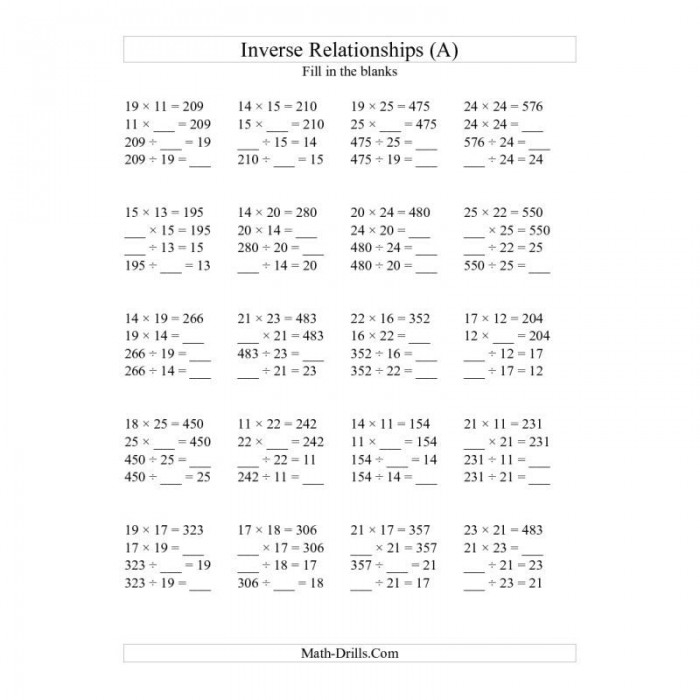 Inverse Operations Multiplication Worksheets