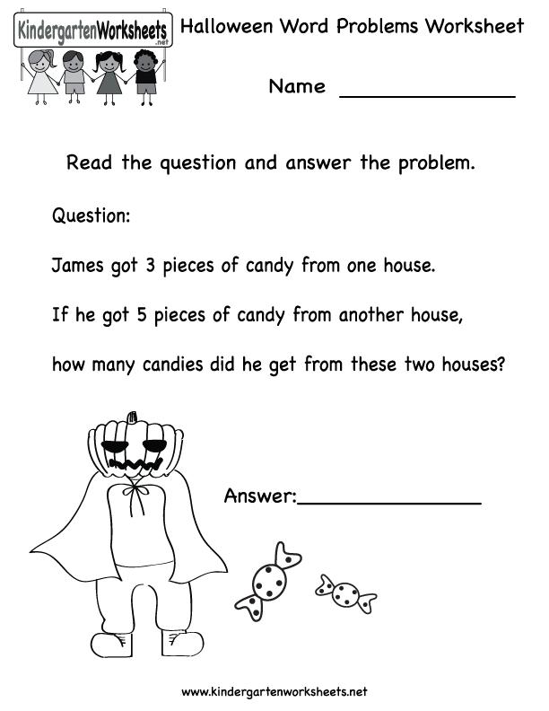 Kindergarten Halloween Word Problems Worksheet Printable