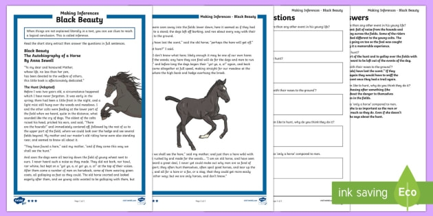 Ks Black Beauty Inference Differentiated Activity Sheets