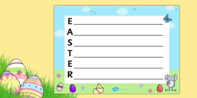Landscape Easter Acrostic Poem Teacher Made