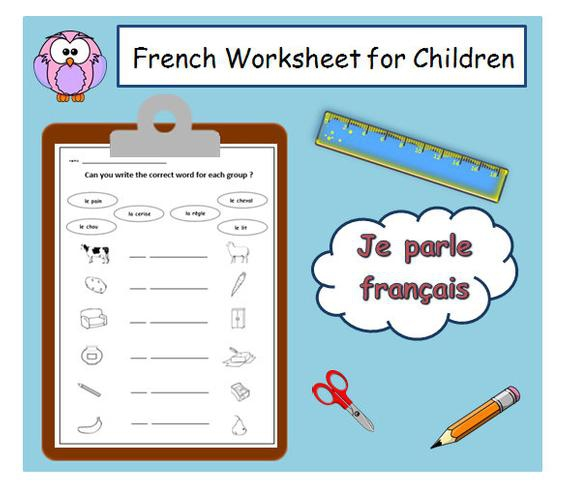Learn Basic French Vocabulary With School Worksheet  Matching