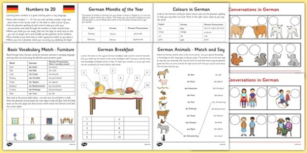 Learn German Worksheet Starter Pack Teacher Made