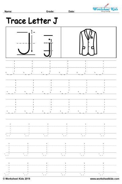 Letter J Alphabet Tracing Worksheets